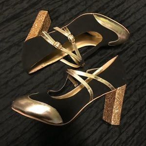 ModCloth Adorable Heels, Silver Gold and Black